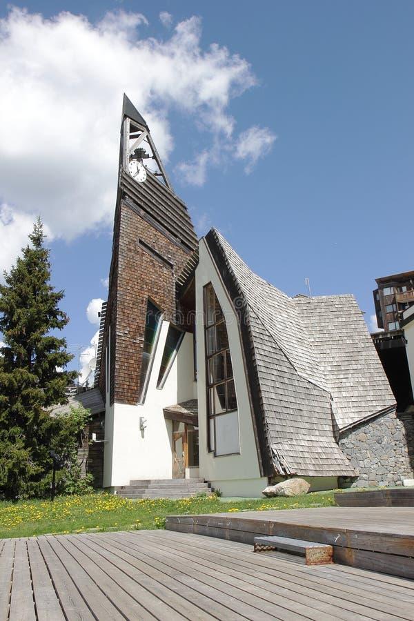 Church in Avoriaz, France stock image