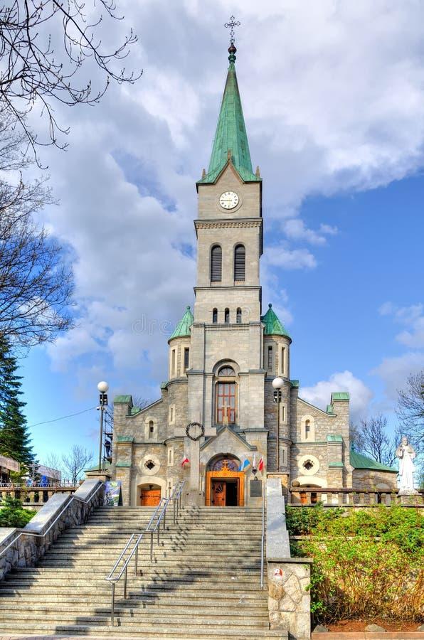 Église dans la rue de Krupowki dans Zakopane, Pologne photographie stock