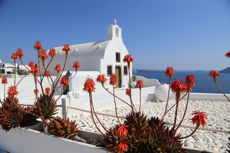 Église dans Santorini avec un wiew vers l'océan et fleurs rouges dans le premier plan photographie stock