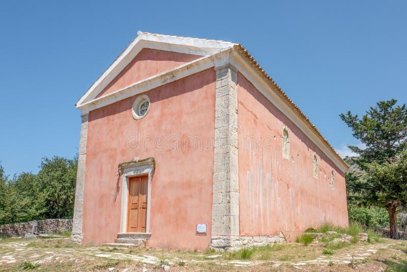 Église dans vieux Perithia sur Corfou, Grèce image stock