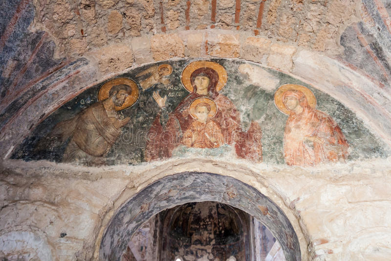 Église de Byzantin de fresques de Mystras images libres de droits