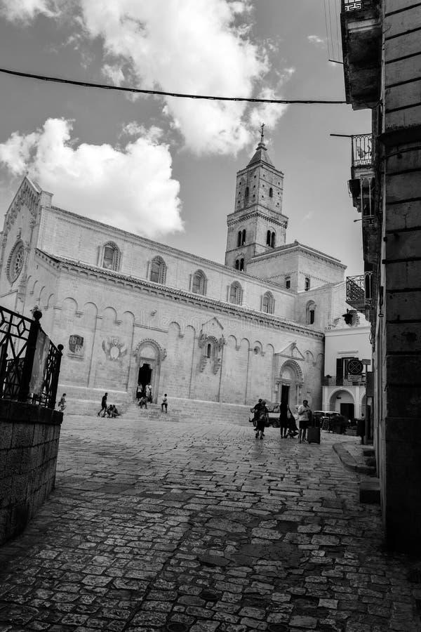 Église de duomo du ` s de Matera dans le jour d'été image libre de droits