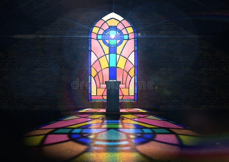 Église de fenêtre en verre teinté images stock