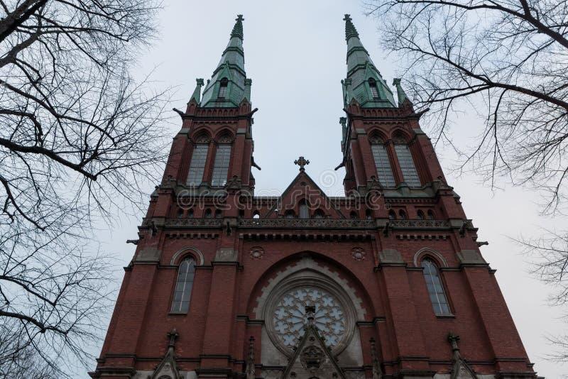 Église de Johanneksenkirkko de temple de St John Lutheran en capitale de la Finlande Helsinki Jour nuageux d'automne images libres de droits