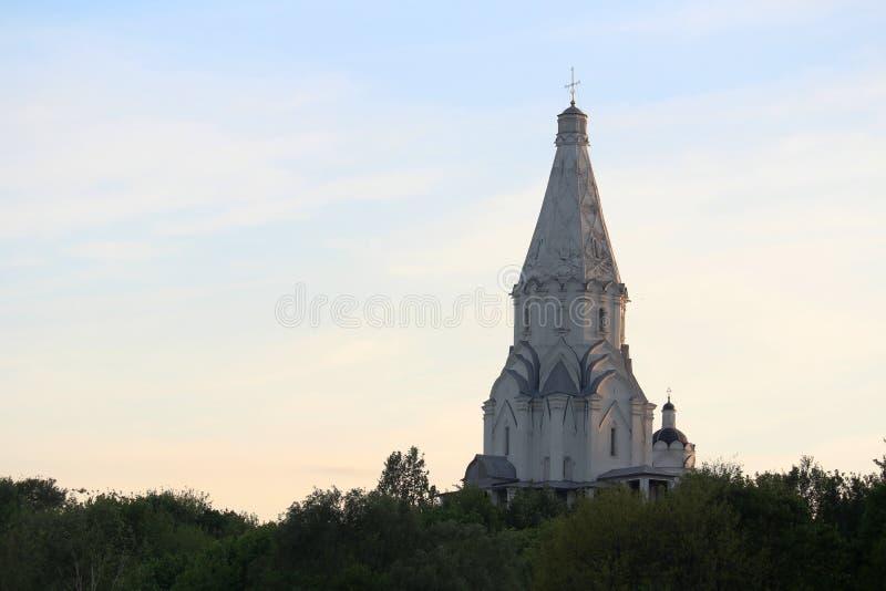 Église de l'ascension, Kolomenskoye au coucher du soleil, Moscou images libres de droits