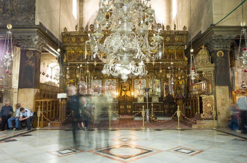 Église de l'intérieur de nativité, Bethlehem, Israël images libres de droits