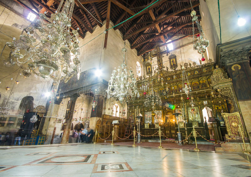Église de l'intérieur de nativité, Bethlehem, Israël photographie stock