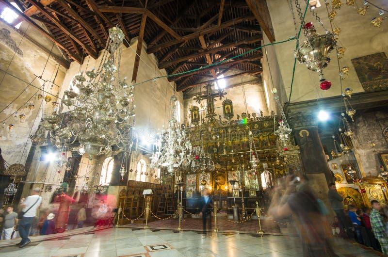 Église de l'intérieur de nativité, Bethlehem, Israël image libre de droits