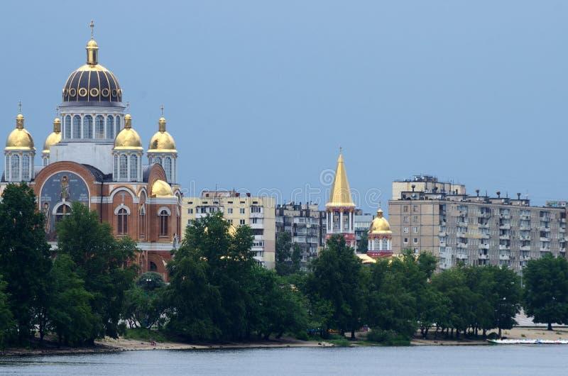 Église de la nativité au remblai d'Obolon, Kiev, Ukraine images stock