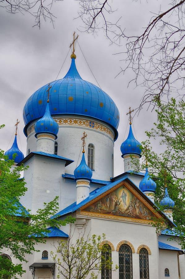 Église de la nativité dans la fronde moyenne à St Petersburg, Russie photographie stock libre de droits
