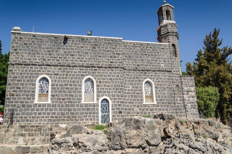 Église de la primauté de St Peter chez Tabgha image libre de droits