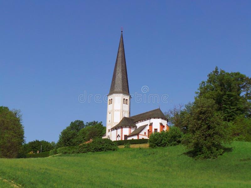 Église de la Slovénie Olimje des arbres de pré de Vierge Marie images stock