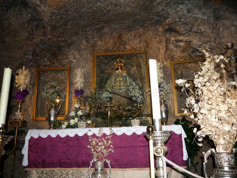 Église de la vierge de la roche à Mijas dans les montagnes au-dessus de Costa del Sol dans SpainDonkey dedans images stock