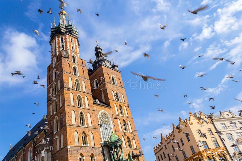 Église de Mariacki, Cracovie, Pologne, l'Europe images libres de droits
