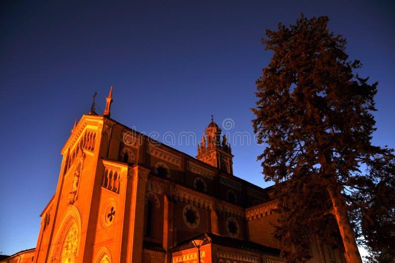 Église de Monforte au coucher du soleil photos stock