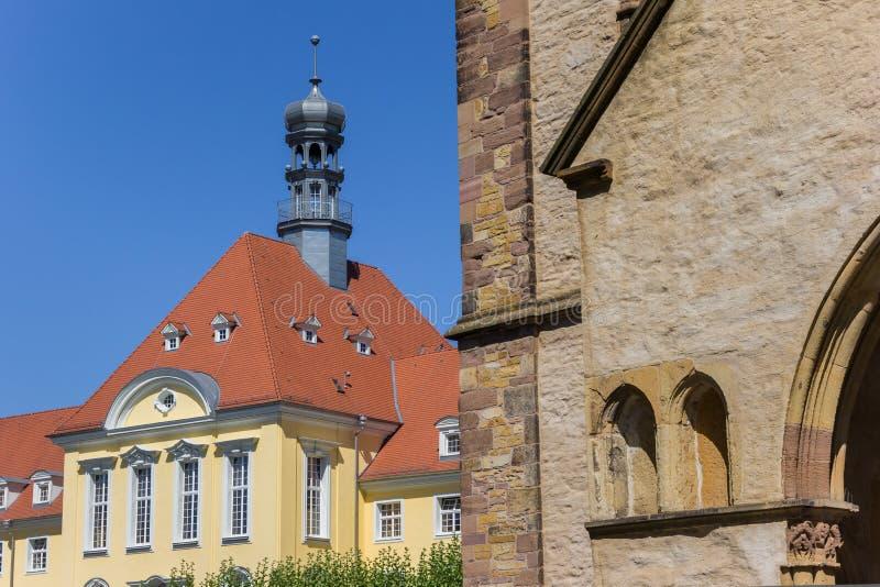Église de Munster et hôtel de ville au centre de Herford image stock