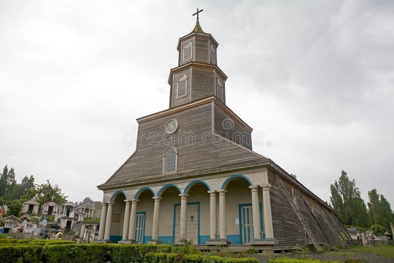 Église de Nercon, île de Chiloe, Chili image stock