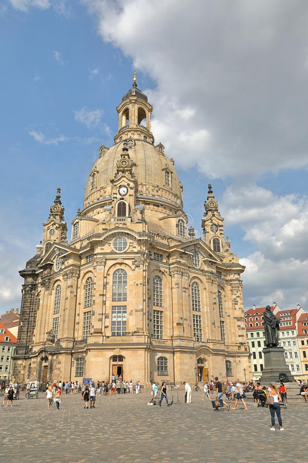 Église de notre Madame Dresdner Frauenkirche sur la place de Neumarkt, Dresde, Saxe Saxe, Allemagne Deutschland photos stock