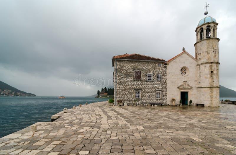 Église de notre Madame sur la roche, Monténégro photos stock