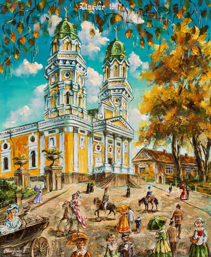Église de peinture à l'huile vieille illustration de vecteur