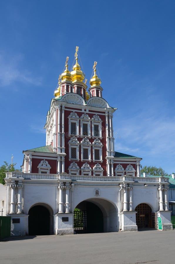 Église de porte de la transfiguration dans le couvent de Novodevichy, Moscou, Russie image libre de droits