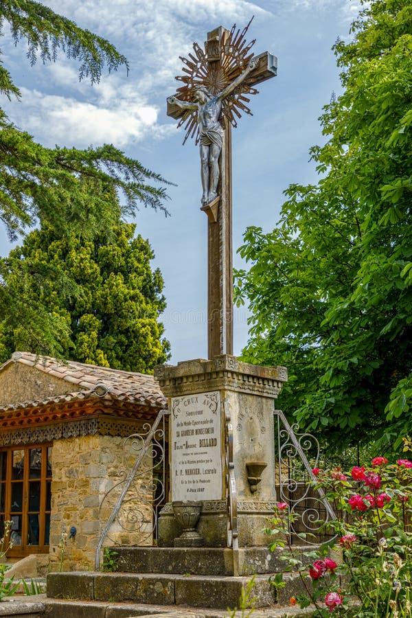 Église de Rennes le Chateau, France Croix, et Jesus Christus images libres de droits