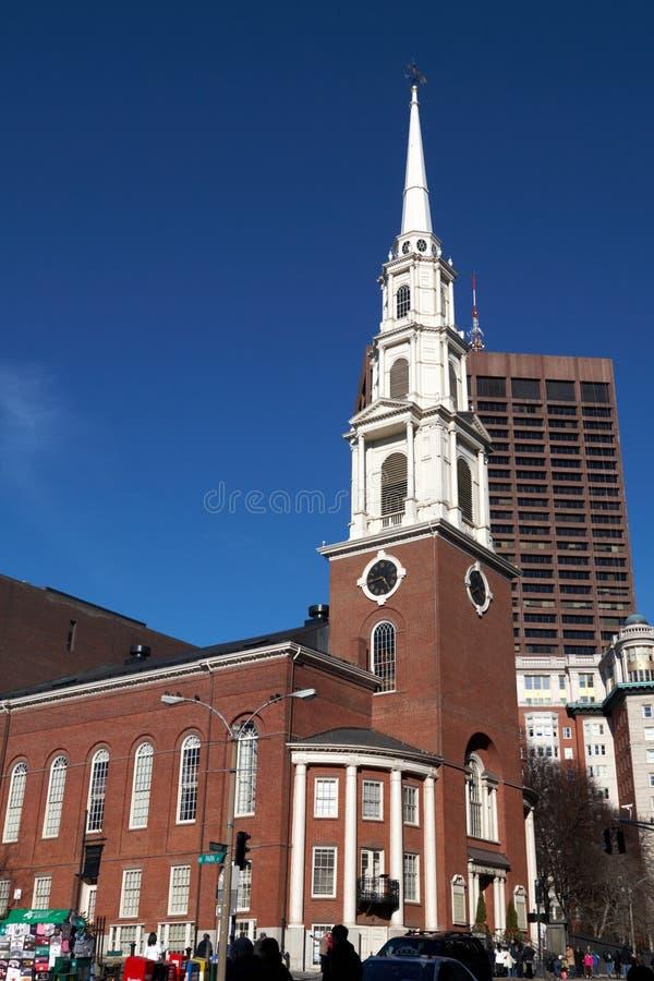Église de rue de stationnement de Boston images stock