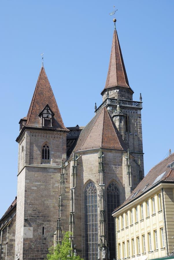Église de rue Johannis à Ansbach image stock