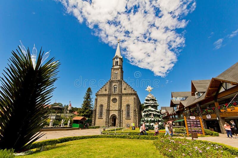 Église de rue Peter Ville de Gramado, Rio Grande do Sul - Brésil image stock