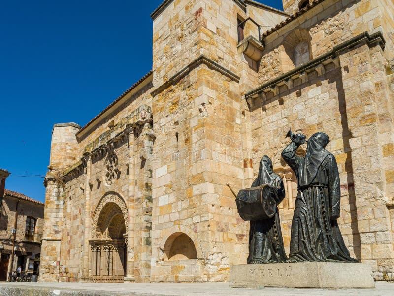 Église de San Juan Bautista dans la place de maire de Zamora l'espagne images libres de droits