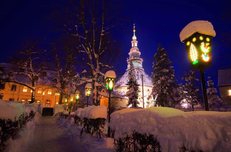 Église de Seiffen en hiver photo stock