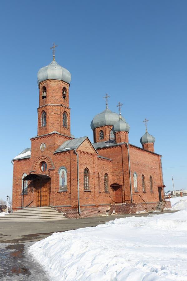 Église de St Panteleimon le guérisseur, ville de Belokurikha, Altai image libre de droits