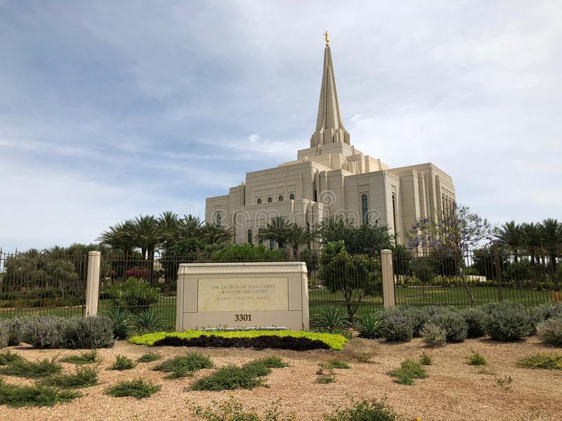 Église de temple mormon en Gilbert Arizona image stock