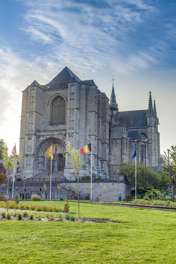 Église de Waltrude de saint à Mons, Belgique. photo stock