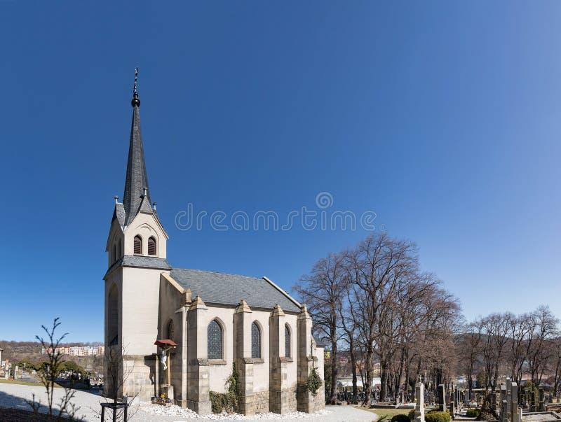 Église du coeur sacré du seigneur dans la ville de Vimperk, Bohême du sud République Tchèque photos libres de droits
