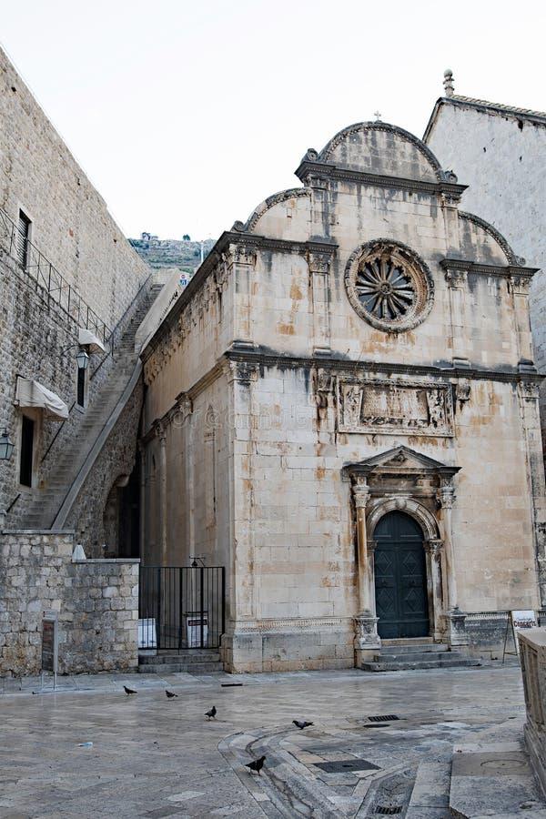 Église du ` s de sauveur de St sur le Placa Stradum dans la vieille ville de Dubrovnik image stock