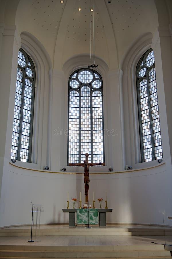 Église du ` s de St John, intérieur de l'église protestante, Dusseldorf, Allemagne photographie stock