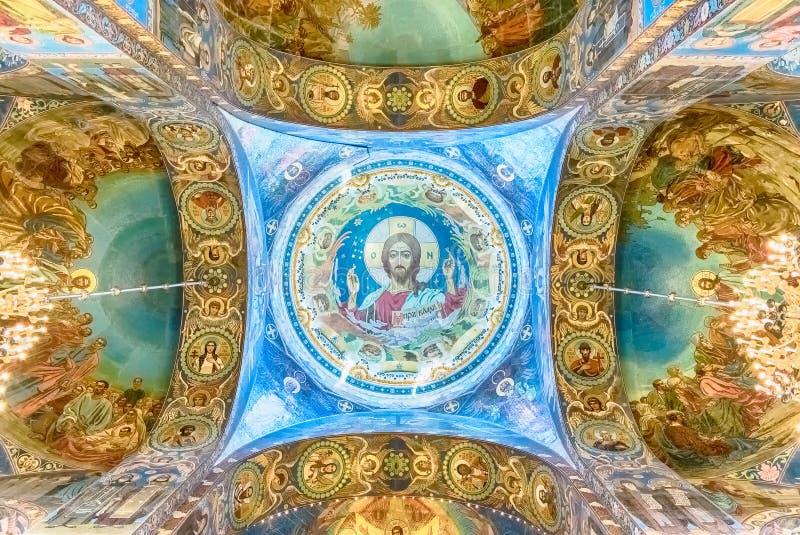 Église du sauveur sur le sang, intérieur, St Petersburg, Russie images libres de droits