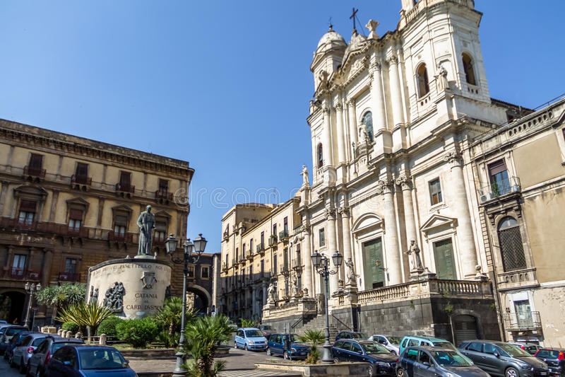 Église du St Francis d'Assisi impeccable - Catane, Sicile, Italie image libre de droits