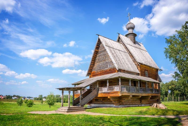 Église en bois de Saint-Nicolas dans Suzdal, anneau d'or, Russie photographie stock libre de droits