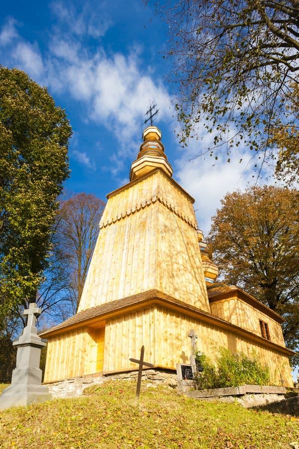 Église en bois, Hunkovce photographie stock