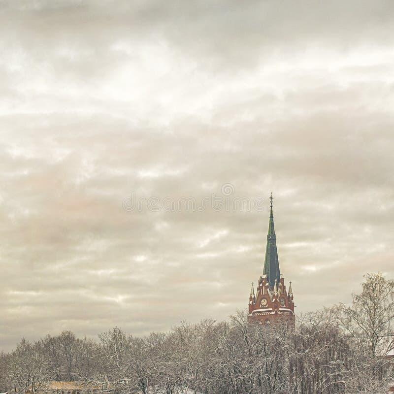 Église en hiver image stock