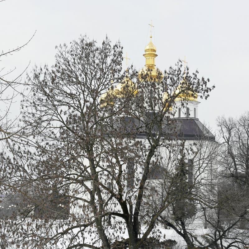 Église en parc en hiver images stock