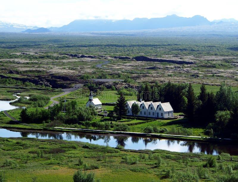 Église en parc national de Thingvellir - Islande images stock