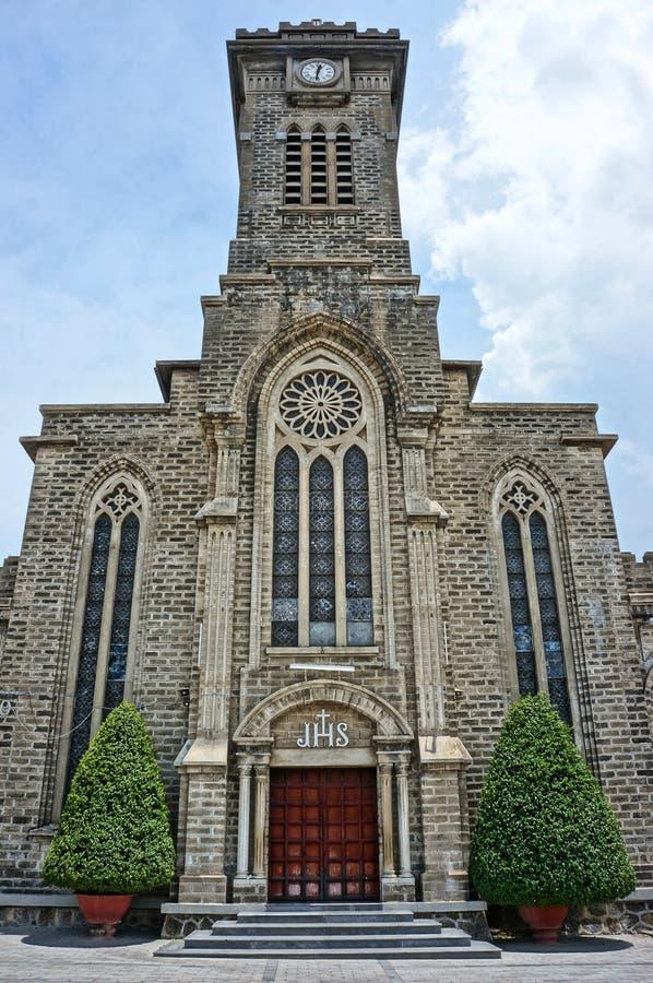 Église en pierre, cathédrale antique, trang de nha, Vietnam photos libres de droits