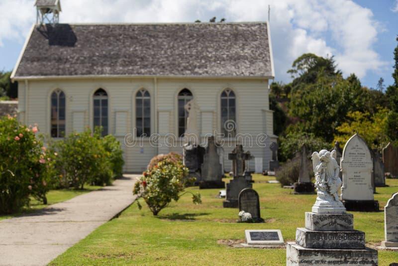 Église et cimetière à Russell, Nouvelle-Zélande photos libres de droits