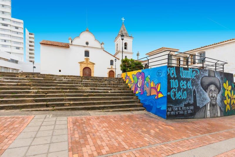 ?glise et place Colombie de Tunja San Francisco images libres de droits