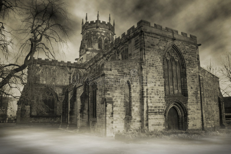 Église hantée images libres de droits