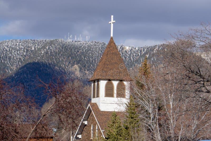 Église historique, hampe de drapeaux, AZ photographie stock