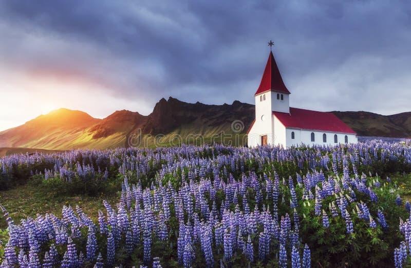 Église luthérienne dans Vik l'islande photographie stock